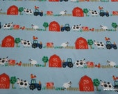 Flannel Fabric - Farm Animals - By the yard - 100% Cotton Flannel