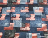 Flannel Fabric - Flag on Denim Blue Patches Print - By the Yard - 100% Cotton Flannel
