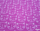 Flannel Fabric - Cat Faces on Pink - By the yard - 100% Cotton Flannel