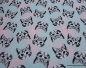 Flannel Fabric - Cat Faces Tossed Tie Dye - By the yard - 100% Cotton Flannel