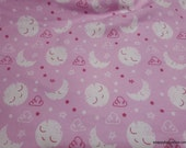 Flannel Fabric - Sleepy Moon and Stars Pink - By the yard - 100% Cotton Flannel