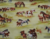 Flannel Fabric - Horses in Pasture - By the yard - 100% Cotton Flannel