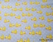 Flannel Fabric - Ducks Blue - By the yard - 100% Cotton Flannel