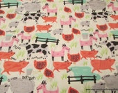 Flannel Fabric - Fun Farm Animals - By the yard - 100% Cotton Flannel