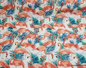 Flannel Fabric - Flamingos - By the yard - 100% Cotton Flannel