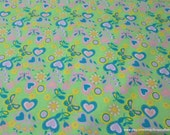Flannel Fabric - Shelby Green Butterflies, Flowers and Hearts - By the Yard - 100% Cotton Flannel
