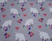 Flannel Fabric - Unicorn Floral Silhouette - By the yard - 100% Cotton Flannel