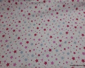 Flannel Fabric - Starlight Pink on White - By the yard - 100% Cotton Flannel