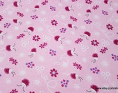Flannel Fabric - Ladybugs on Pink - By the yard - 100% Cotton Flannel