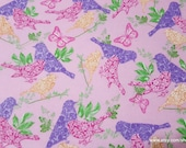Flannel Fabric - Pink Orange Purple Birds on Pink - By the yard - 100% Cotton Flannel