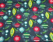 Christmas Flannel Fabric - Ornaments and Mistletoe  - By the yard - 100% Cotton Flannel