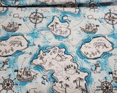 Flannel Fabric - Map Sketch - By the yard - 100% Cotton Flannel