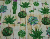 Flannel Fabric - Cacti on Wood - By the yard - 100% Cotton Flannel