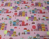 Flannel Fabric - Townhouses Pink - By the yard - 100% Cotton Flannel