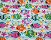 Flannel Fabric - Tropical Watercolor Fish - By the yard - 100% Cotton Flannel