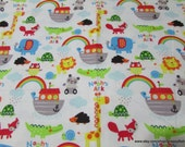 Flannel Fabric - Noah's Ark Colorful on White - By the Yard - 100% Cotton Flannel