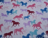 Flannel Fabric - Running Horses Textured - By the yard - 100% Cotton Flannel