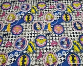 Character Flannel Fabric - Girl Power Badges - By the yard - 100% Cotton Flannel