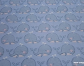 Flannel Fabric - Spotted Whale Friend - By the yard - 100% Cotton Flannel