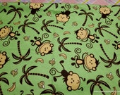 Flannel Fabric - Jungle Monkey Green- By the yard - 100% Cotton Flannel
