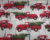 Christmas Flannel Fabric - Red Truck Dog Christmas - By the Yard - 100% Cotton Flannel