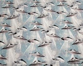 Flannel Fabric - Landing UFOs - By the yard - 100% Cotton Flannel