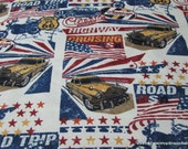 Flannel Fabric - American Roadtrip - By the yard - 100% Cotton Flannel