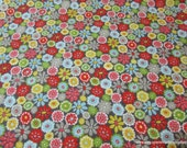 Flannel Fabric - Woodland Flowers Grey- 1 yard - 100% Cotton Flannel