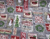 Christmas Flannel Fabric - Country Christmas Patchwork - By the yard - 100% Cotton Flannel