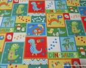Flannel Fabric - Dino Family Patch Blue Red - By the Yard - 100% Cotton Flannel