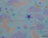 Metallic Glitter Flannel Fabric - Unicorns Gold Metallic Glitter - By the Yard - 100% Cotton Glitter Flannel