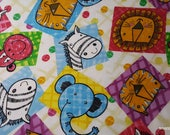 Flannel Fabric - Multi Patchwork Animal Squares - By the yard - 100% Cotton Flannel
