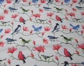 Flannel Fabric - Colorful Birds on Branches - By the yard - 100% Cotton Flannel