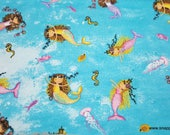 Flannel Fabric - Ocean Mermaids - By the yard - 100% Cotton Flannel