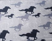Flannel Fabric - Horses Running Sketch Gray - By the yard - 100% Cotton Flannel