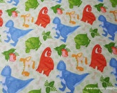 Flannel Fabric - Dinosaurs and Tracks on Green - By the yard - 100% Cotton Flannel