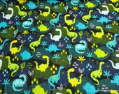 Flannel Fabric - Dino Desert Allover on Black - By the yard - 100% Cotton Flannel