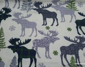 Christmas Flannel Fabric - Patterned Blackwatch Moose - By the yard - 100% Cotton Flannel
