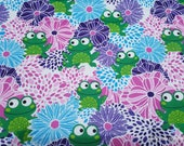 Flannel Fabric - Frogs in Floral Bursts - By the yard - 100% Cotton Flannel