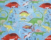 Flannel Fabric - Neutral Dinos - By the yard - 100% Cotton Flannel