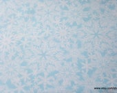 Christmas Flannel Fabric - Snowflakes on Ice Blue - By the yard - 100% Cotton Flannel