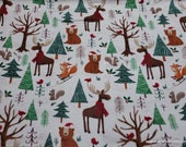 Christmas Flannel Fabric - Forrest Christmas Animals - By the yard - 100% Cotton Flannel