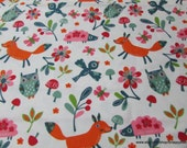 Flannel Fabric - Happy Woodland Friends - By the yard - 100% Cotton Flannel