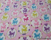 Premium Flannel Fabric - Sweet Horse Carousel Pink - By the yard - 100% Cotton Flannel