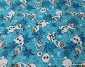Character Flannel Fabric - Olaf Frozen - By the yard - 100% Cotton Flannel