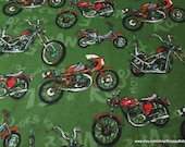 Flannel Fabric - Urban Motorbikes - By the yard - 100% Cotton Flannel