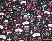 Flannel Fabric - Nurses Call the Shots - By the yard - 100% Cotton Flannel