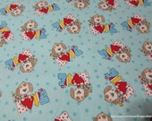 Flannel Fabric - Dog Love  - By the yard - 100% Cotton Flannel
