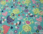 Flannel Fabric - Garden Frog - By the Yard - 100% Cotton Flannel