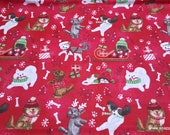 Christmas Flannel Fabric - Holiday Pups on Red - By the Yard - 100% Cotton Flannel